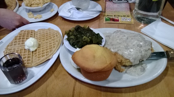 Chicken Fried Steak and waffles